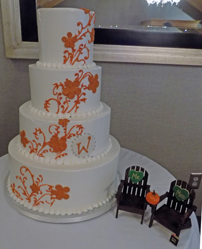 4 Tier fall themed buttercream wedding cake delivered at Heritage Hills Golf Club and Resort York PA