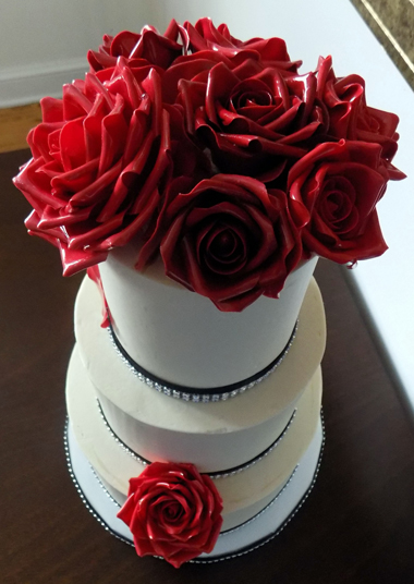 Hand made glossy red gumpaste roses