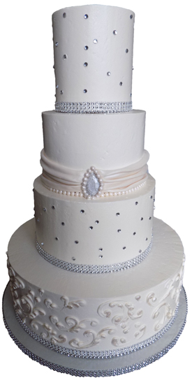 4 Tier buttercream wedding cake decorated with a fondant sash and pearls, diamonds and an edible brooch. Wedding Cakes Harrisburg PA
