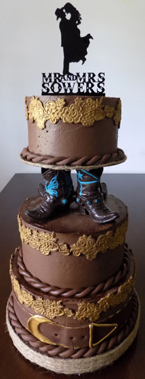 3 Tier western themed wedding cake. Wedding Cakes Wrightsville PA