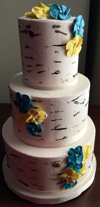 3 Tier birch tree themed wedding cake decorated with yellow and teal/turquoise buttercream blossom flowers - wedding cakes Baltimore MD