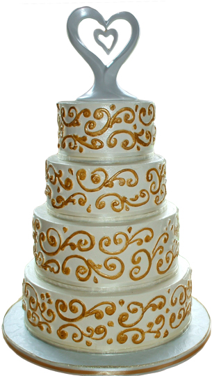 4 Tier buttercream wedding cake with gold buttercream scrolls and satin ribbons with a cake topper.