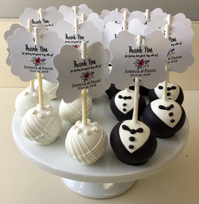 Bride and groom cake pops used for wedding favors. Cake pops York PA
