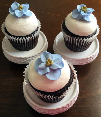 Chocolate cupcakes, filled with peanut buttercream, topped with vanilla buttercream and decorated with blue buttercream delphiniums delivered at the Wyndridge Farm Dallastown PA