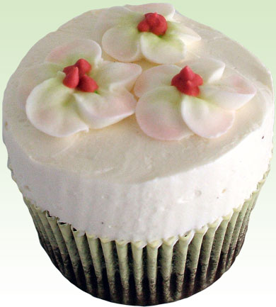 Chocolate cupcakes topped with royal icing 3 apple blossom flowers
