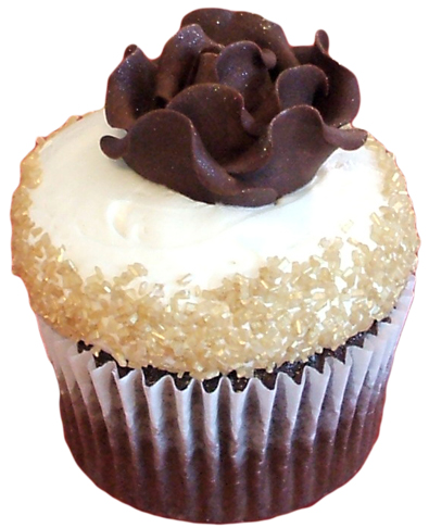 Chocolate cupcake iced with vanilla buttercream, decorated with gold sugar crystals around edges and chocolate rose on top