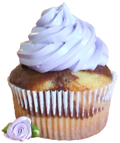 Marble cupcake topped with lilac buttercream icing