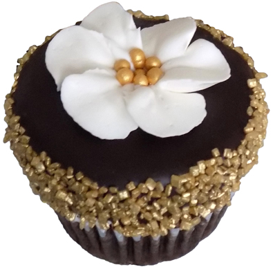 Chocolate cupcakes, filled with raspberry buttercream, iced with vanilla buttercream, dipped in dark chocolate gananche and decorated with gold sugar crystals and small buttercream flowers - cupcakes York PA