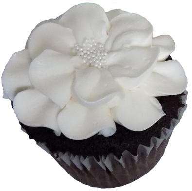 Chocolate cupcakes, filled with raspberry buttercream and decorated with a vanilla buttercream flowers - cupcakes York PA