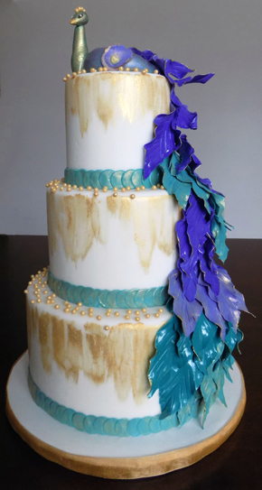 3 Tier peacock themed fondant wedding cake. Wedding cakes Columbia PA