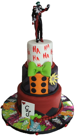 3 Tier Joker and Harley Quinn themed wedding cake