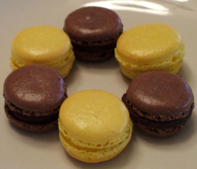 Fremch macarons filled lemon curd and chocolate chocolate ganache