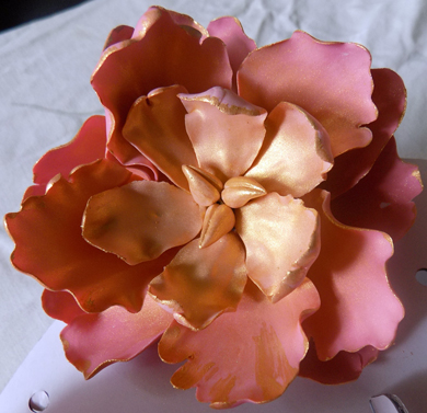 Handmade blush gumpaste peony hilighted with gold