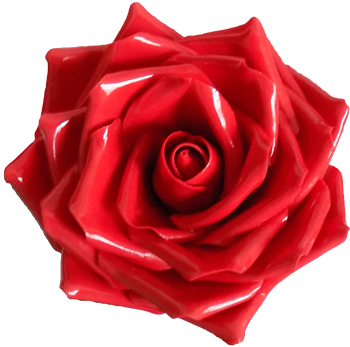 Large handmade glossy bright red roses
