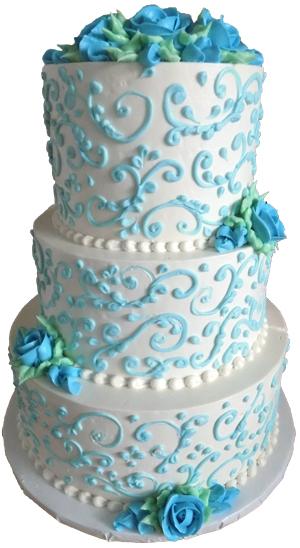 3 tier light blue and white buttercream wedding cake delivered in Dillsburg PA. Wedding cakes Dillsburg PA